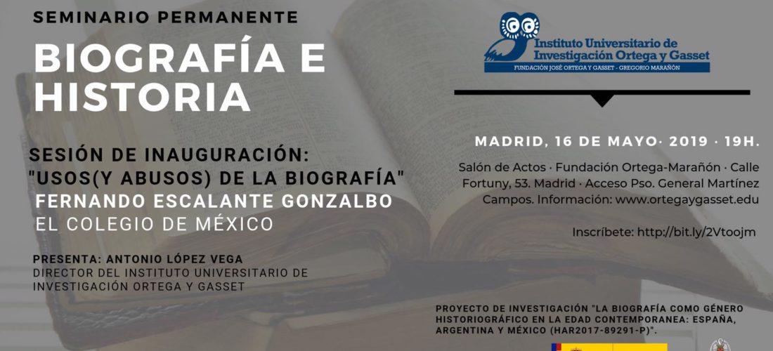 """El IUIOG lanza un Seminario """"Biografía e Historia"""""""