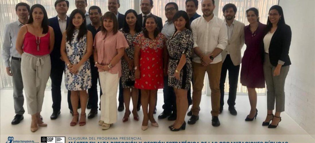Clausura de las jornadas presenciales del Máster en Alta Dirección Publica y Gestión Estratégica de las Organizaciones Publicas de la Universidad del Pacifico